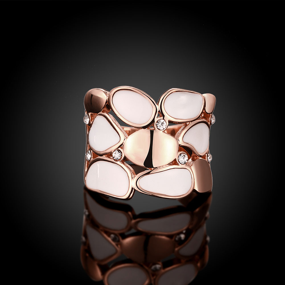 Wholesale Trendy Rose Gold Geometric White Rhinestone Ring TGGPR581 2