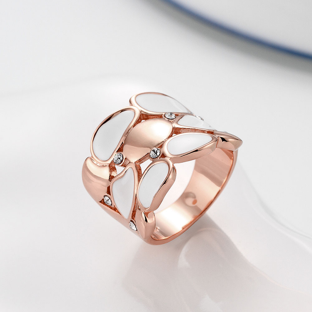 Wholesale Trendy Rose Gold Geometric White Rhinestone Ring TGGPR581 3