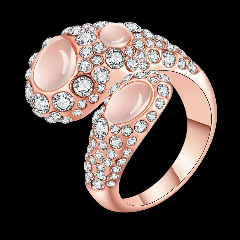 Wholesale Trendy Rose Gold Geometric Multicolor Stone Ring TGGPR889 0