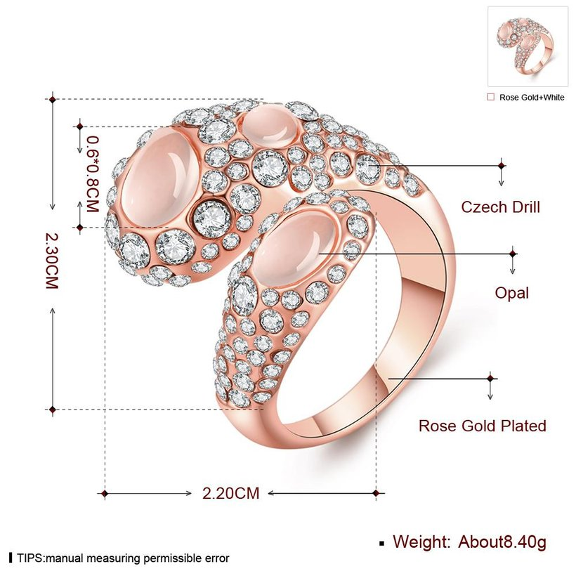 Wholesale Trendy Rose Gold Geometric Multicolor Stone Ring TGGPR889 1