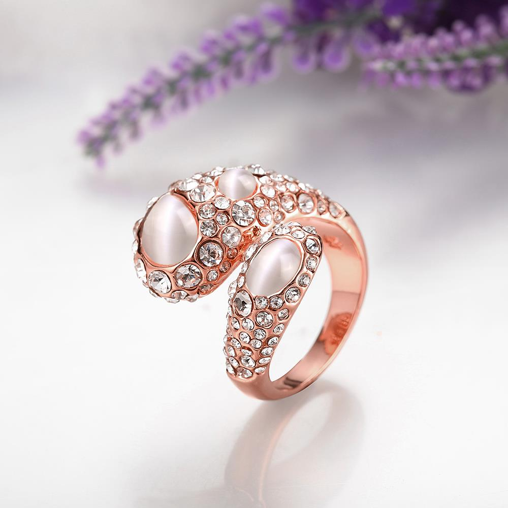 Wholesale Trendy Rose Gold Geometric Multicolor Stone Ring TGGPR889 3