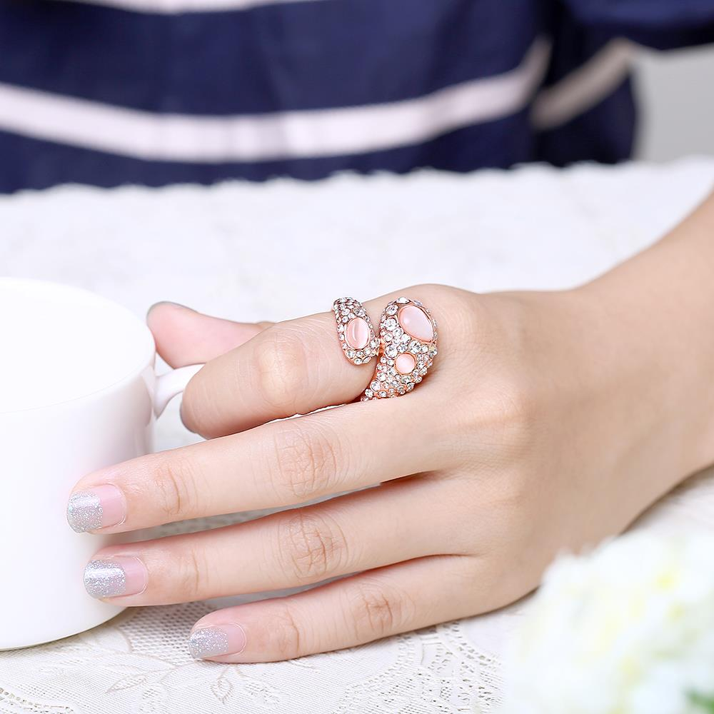 Wholesale Trendy Rose Gold Geometric Multicolor Stone Ring TGGPR889 5