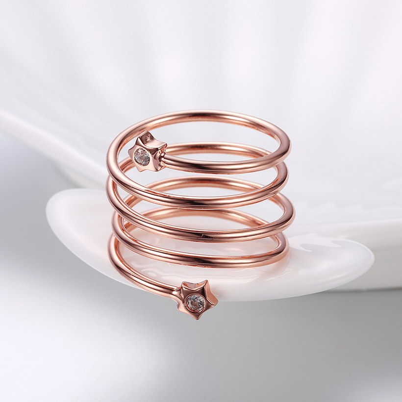 Wholesale Romantic Rose Gold Round White CZ Ring TGGPR1318 2