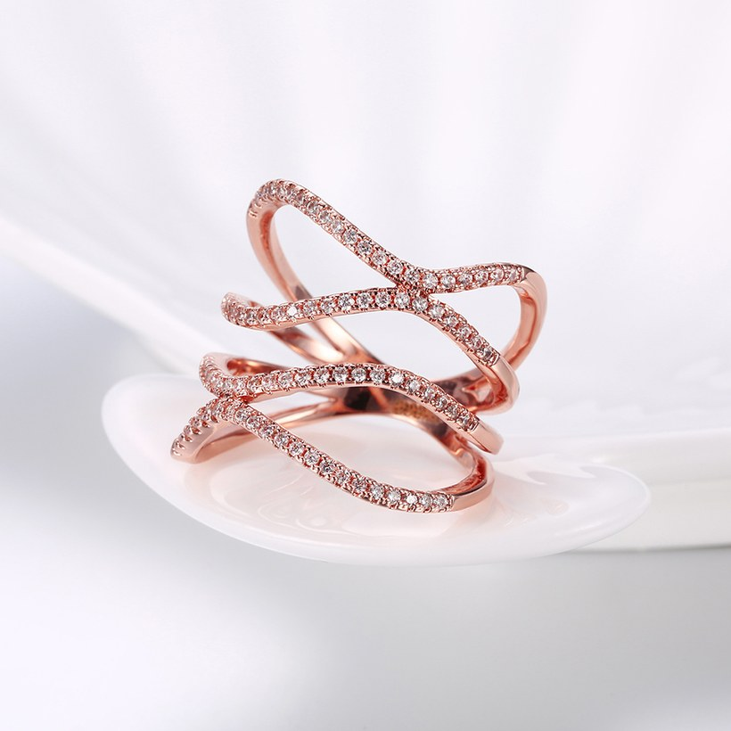 Wholesale Romantic Rose Gold Round White CZ Ring TGGPR1332 2