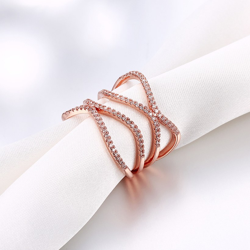 Wholesale Romantic Rose Gold Round White CZ Ring TGGPR1332 3