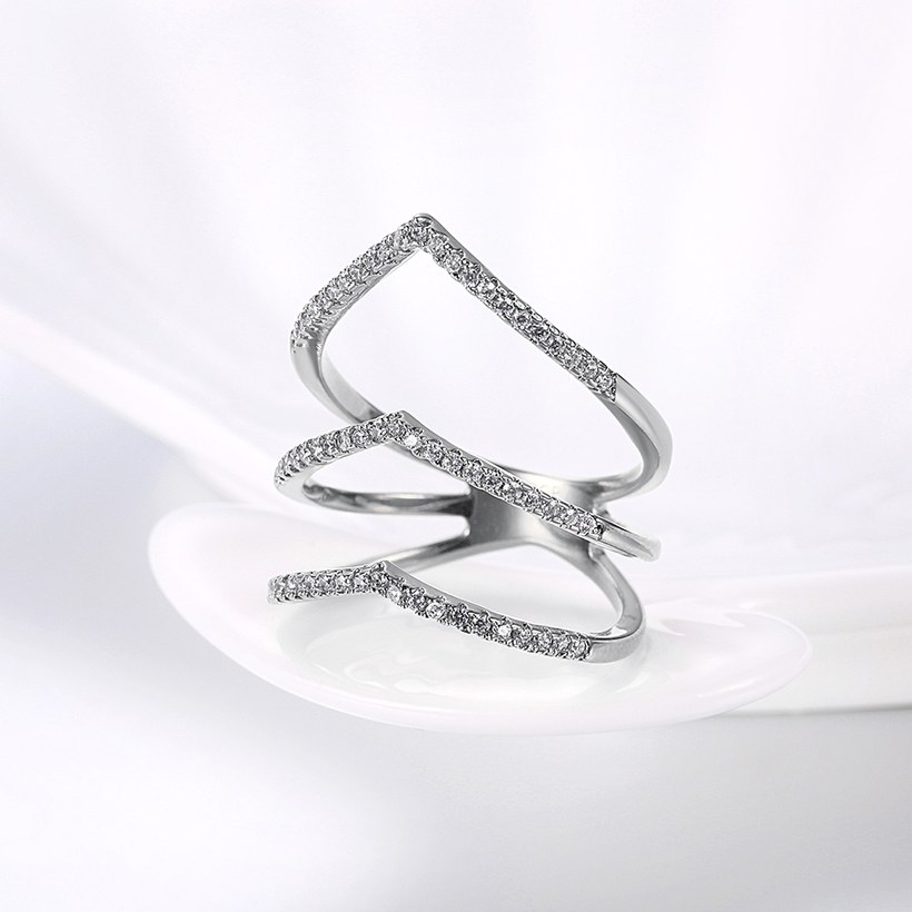 Wholesale Romantic Platinum Round White CZ Ring TGGPR1494 2
