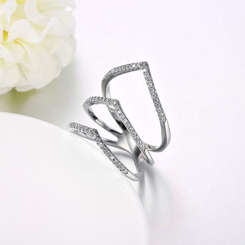 Wholesale Romantic Platinum Round White CZ Ring TGGPR1494 4