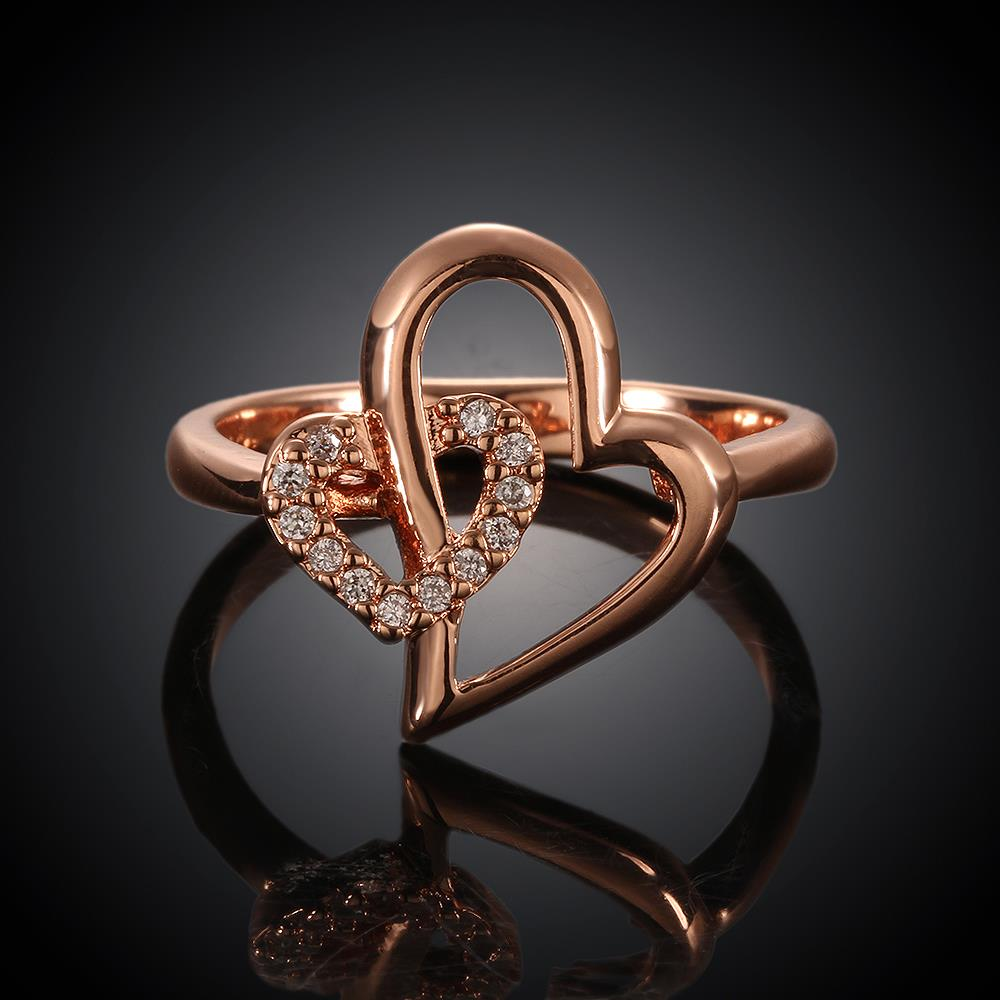 Wholesale Romantic Rose Gold Heart White CZ Ring TGGPR333 0