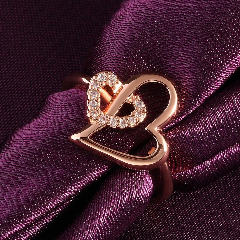 Wholesale Romantic Rose Gold Heart White CZ Ring TGGPR333 1