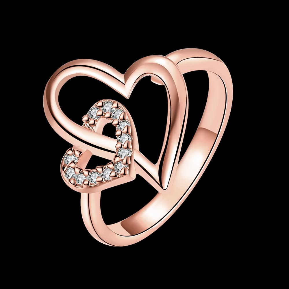 Wholesale Romantic Rose Gold Heart White CZ Ring TGGPR333 3