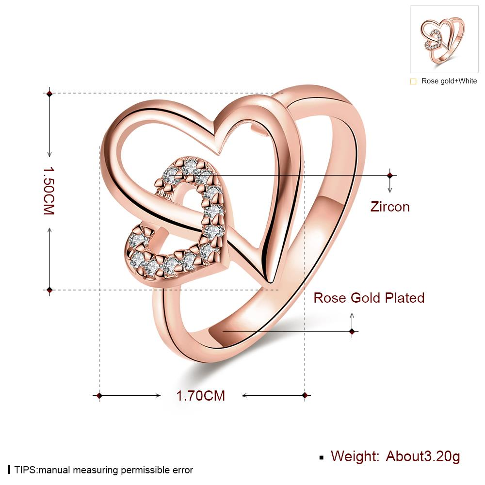 Wholesale Romantic Rose Gold Heart White CZ Ring TGGPR333 4