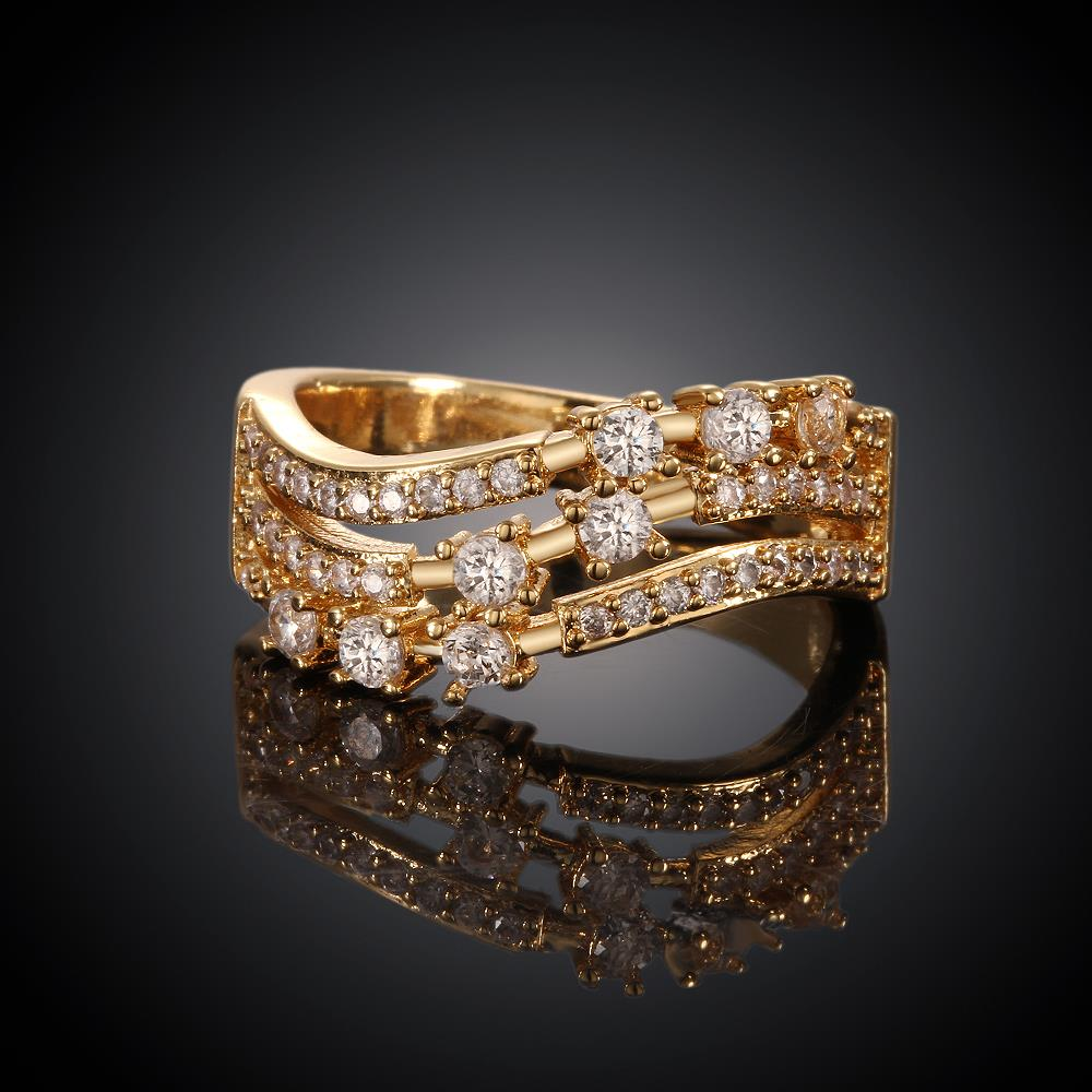 Wholesale Trendy 24K Gold Geometric White CZ Ring TGGPR361 0