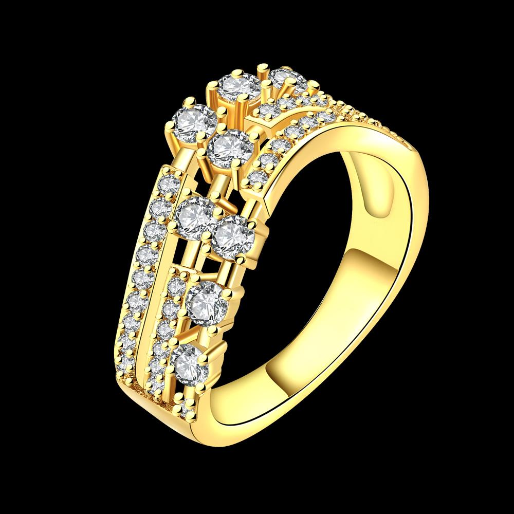 Wholesale Trendy 24K Gold Geometric White CZ Ring TGGPR361 3
