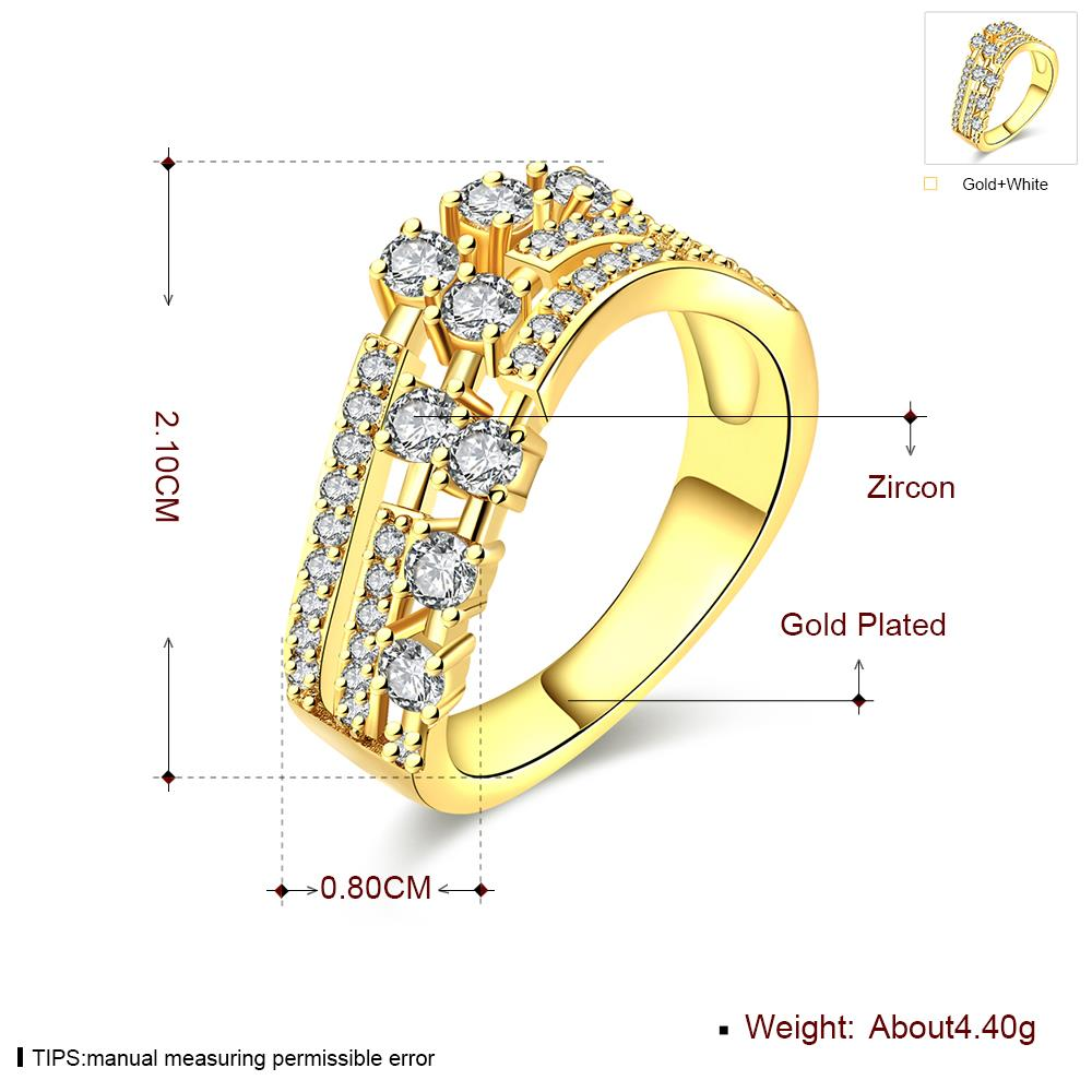 Wholesale Trendy 24K Gold Geometric White CZ Ring TGGPR361 4