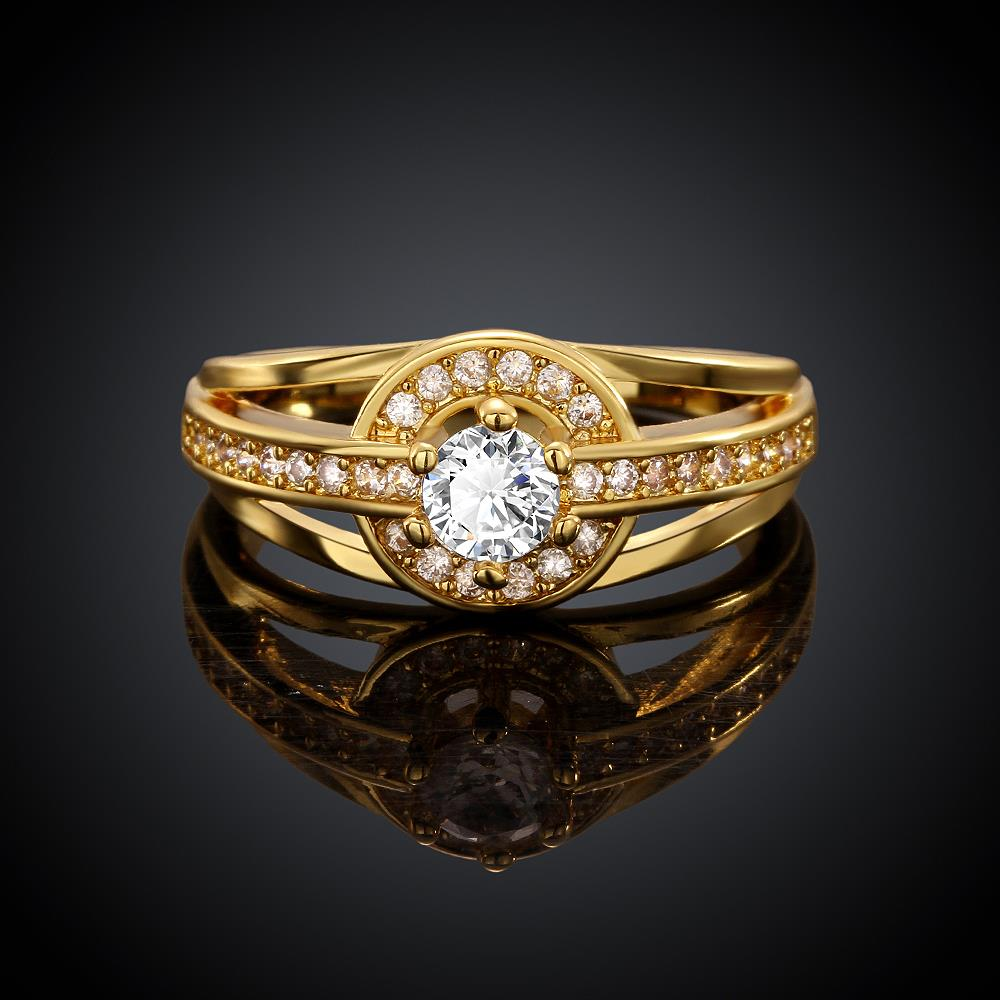 Wholesale Romantic 24K Gold Round White CZ Ring TGGPR382 0