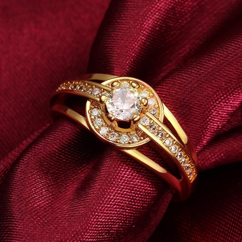 Wholesale Romantic 24K Gold Round White CZ Ring TGGPR382 1