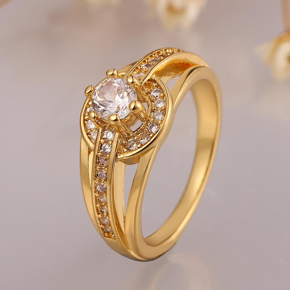 Wholesale Romantic 24K Gold Round White CZ Ring TGGPR382 2