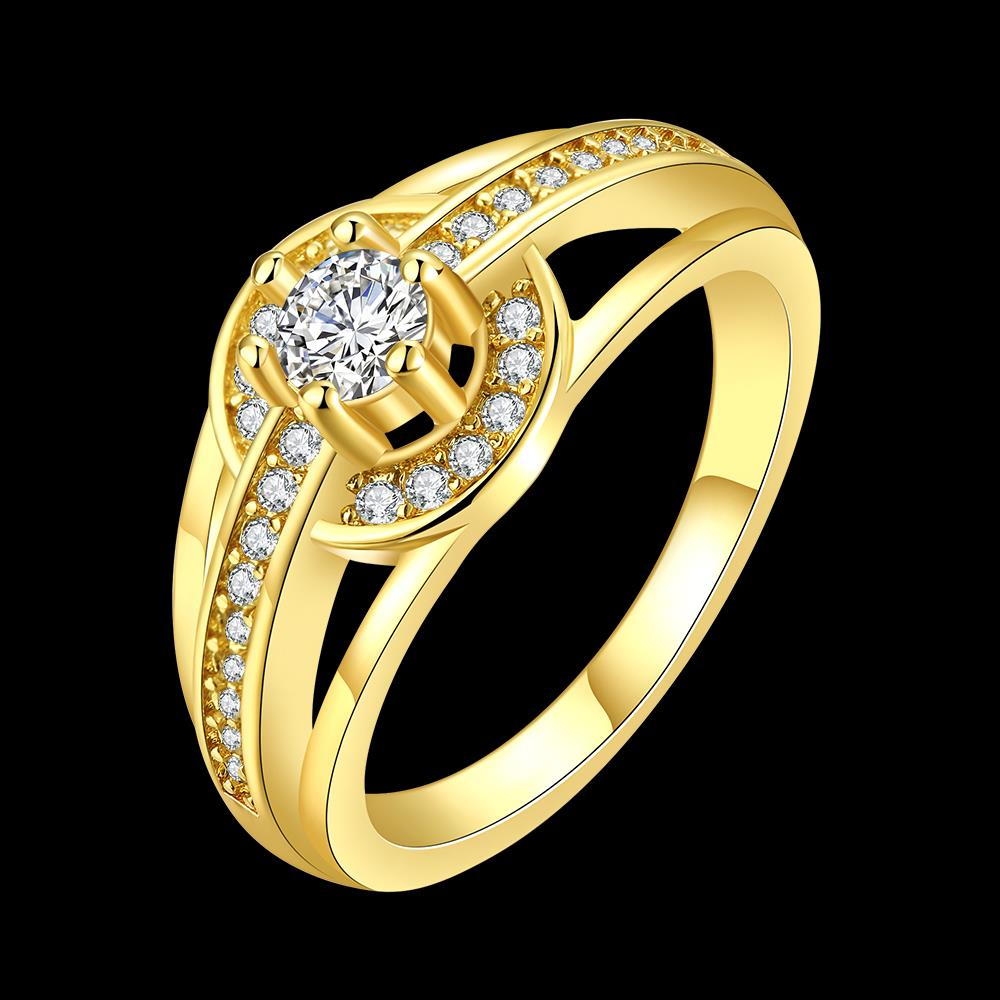 Wholesale Romantic 24K Gold Round White CZ Ring TGGPR382 3