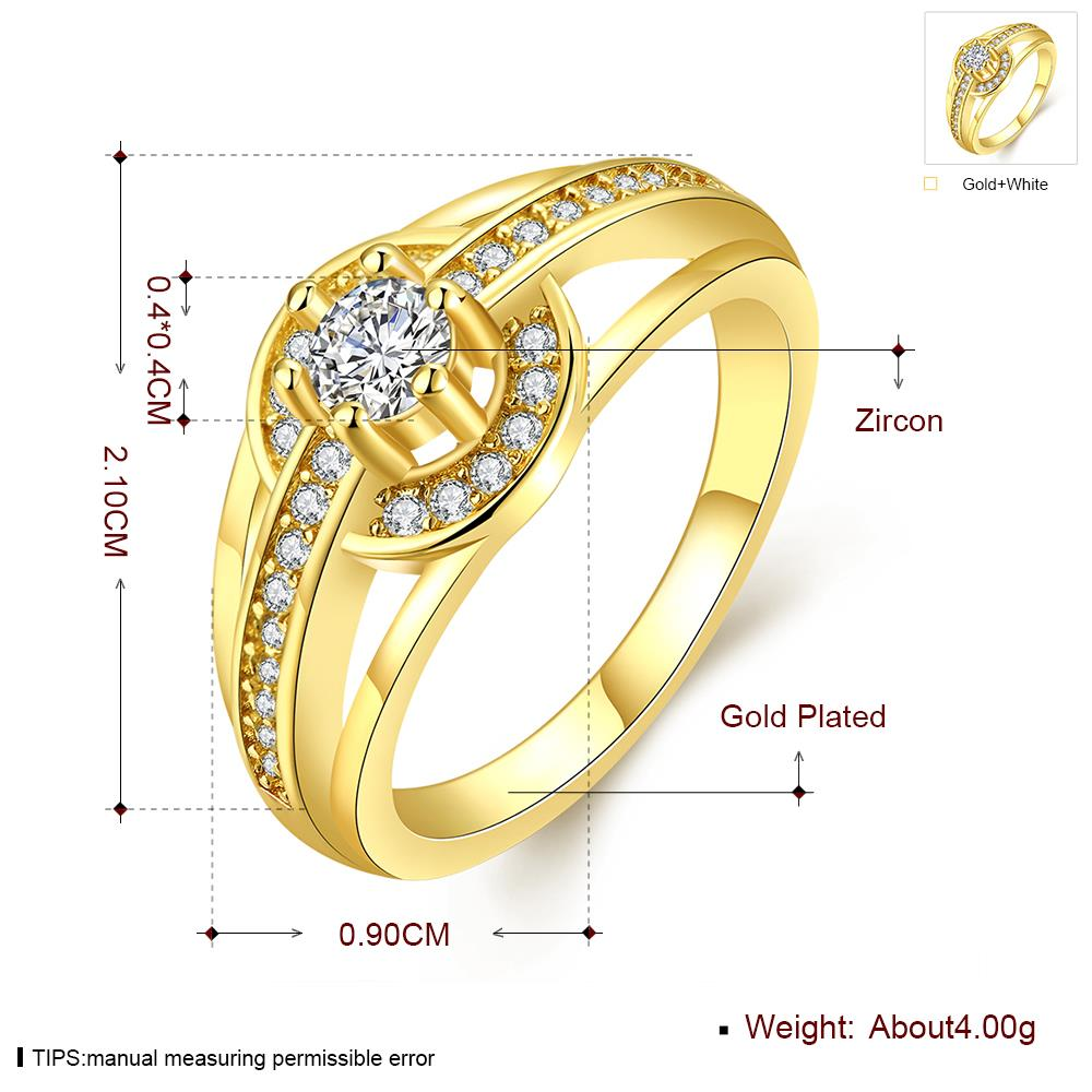 Wholesale Romantic 24K Gold Round White CZ Ring TGGPR382 4