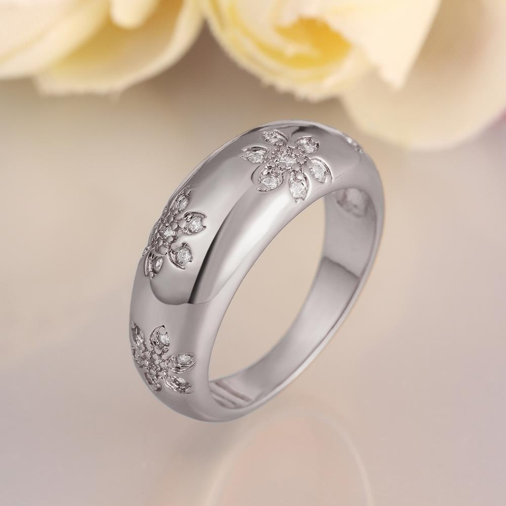 Wholesale Romantic Platinum Plant White CZ Ring TGGPR562 2