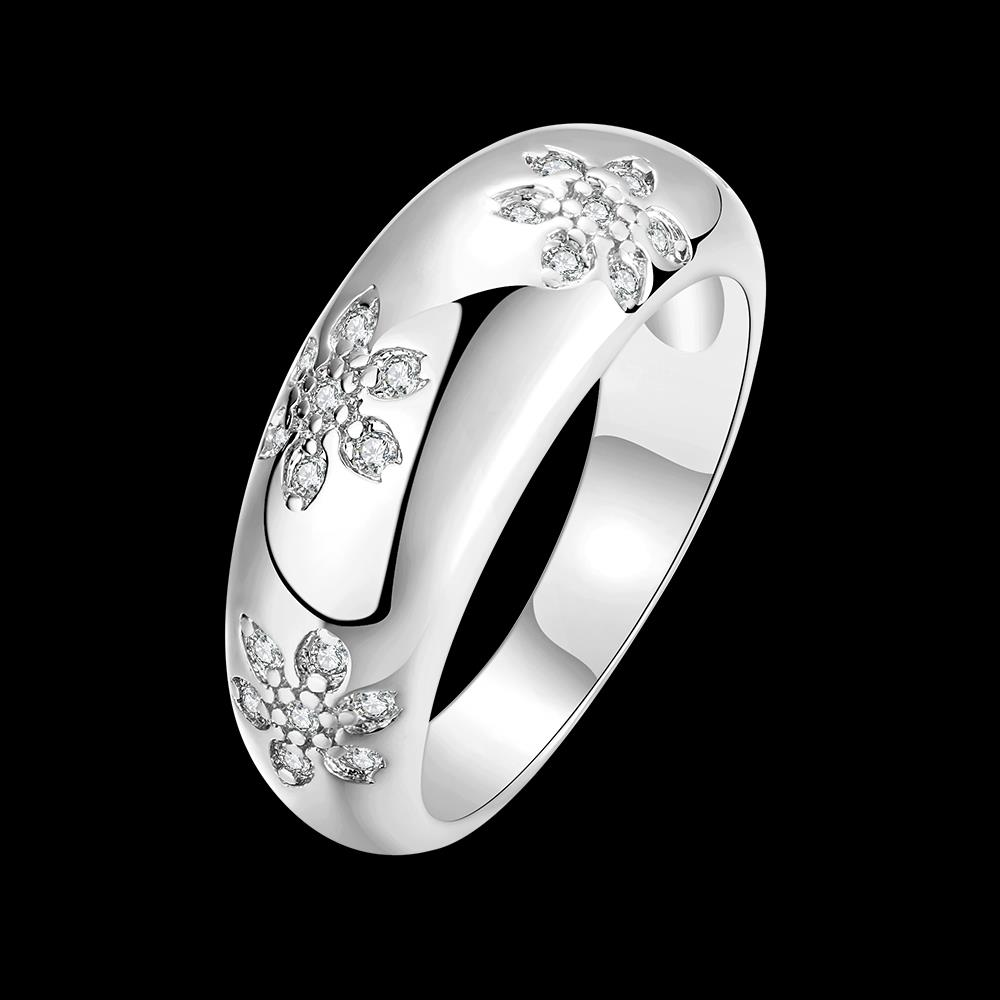 Wholesale Romantic Platinum Plant White CZ Ring TGGPR562 4