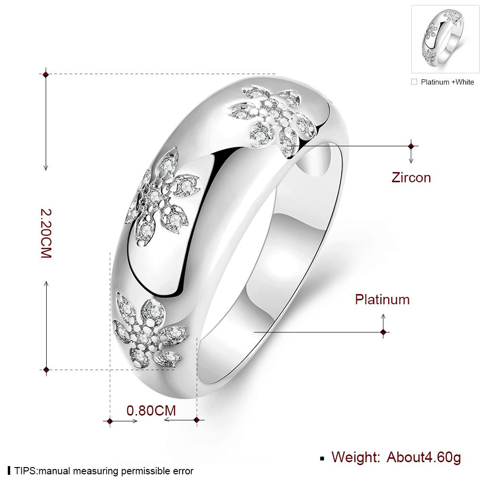 Wholesale Romantic Platinum Plant White CZ Ring TGGPR562 5