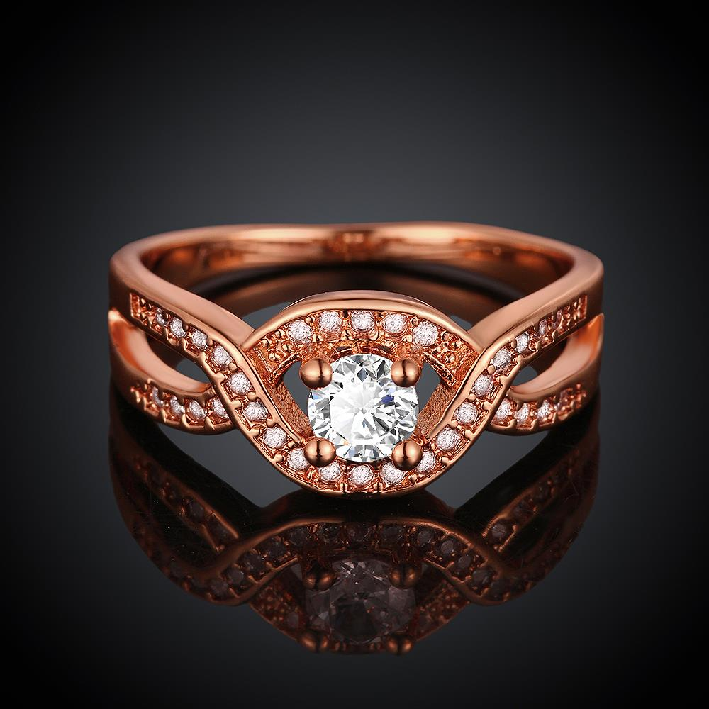 Wholesale Classic Rose Gold Round White CZ Ring TGGPR658 1