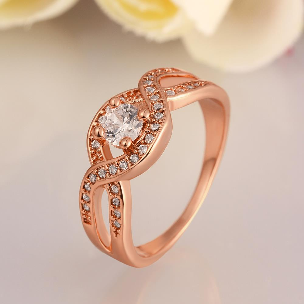 Wholesale Classic Rose Gold Round White CZ Ring TGGPR658 3