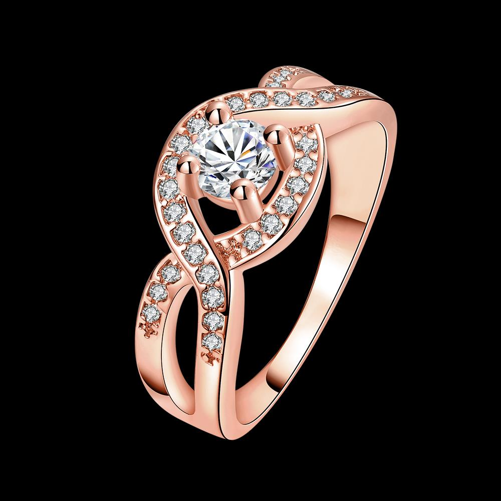 Wholesale Classic Rose Gold Round White CZ Ring TGGPR658 4