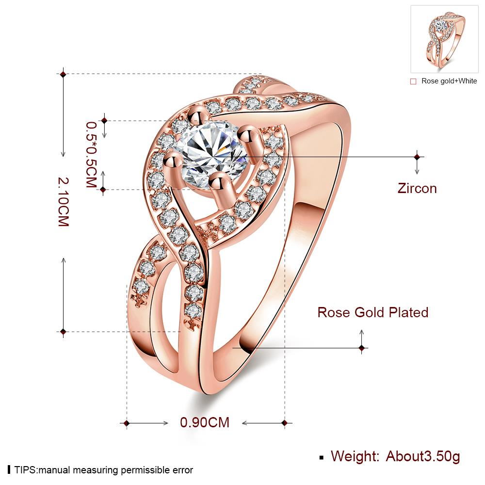 Wholesale Classic Rose Gold Round White CZ Ring TGGPR658 5