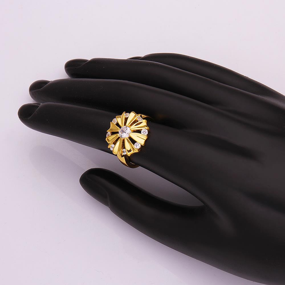 Wholesale Romantic 24K Gold Round White CZ Ring TGGPR751 0