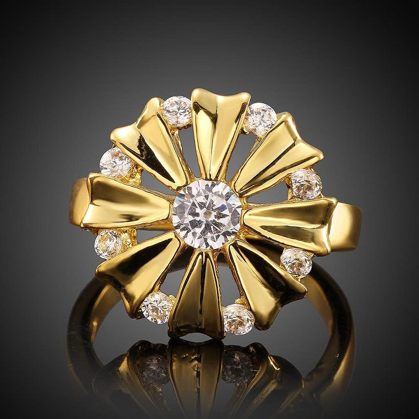 Wholesale Romantic 24K Gold Round White CZ Ring TGGPR751 1