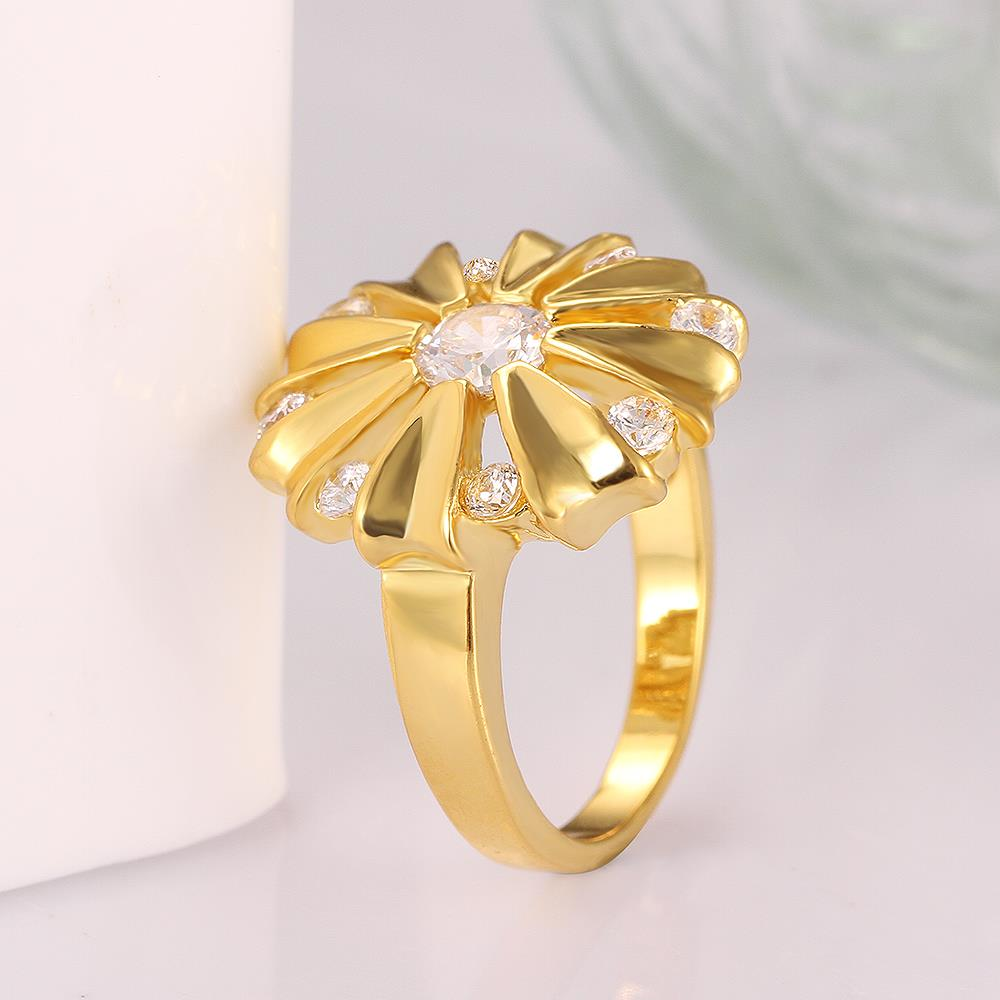 Wholesale Romantic 24K Gold Round White CZ Ring TGGPR751 2