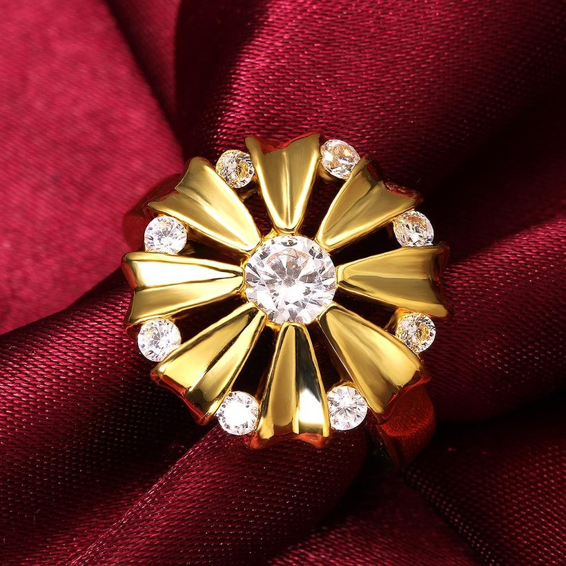 Wholesale Romantic 24K Gold Round White CZ Ring TGGPR751 3