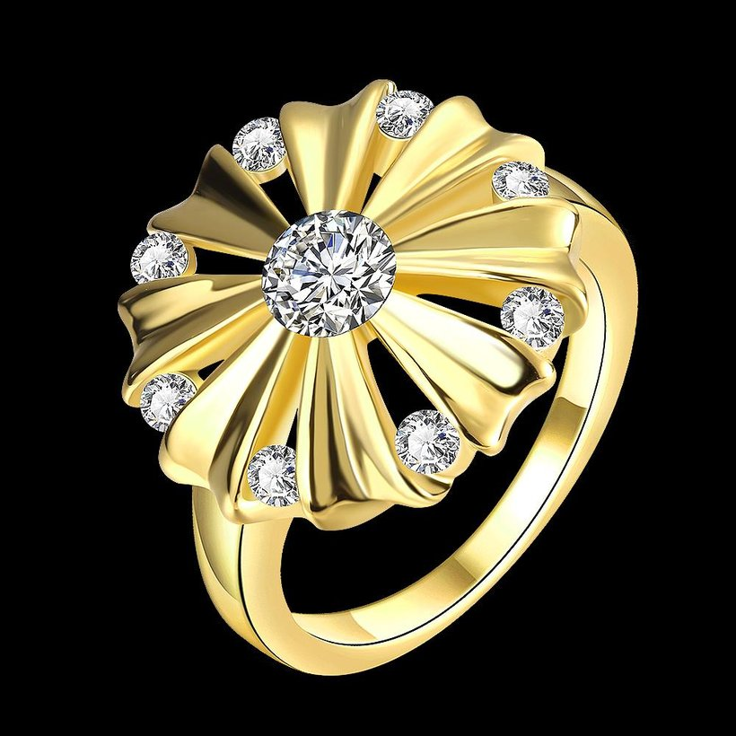 Wholesale Romantic 24K Gold Round White CZ Ring TGGPR751 4