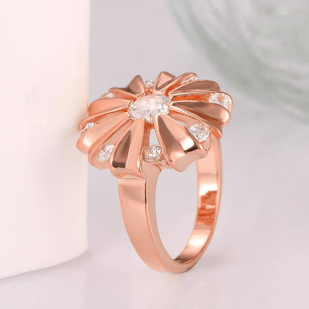 Wholesale Romantic Rose Gold Round White CZ Ring TGGPR754 1