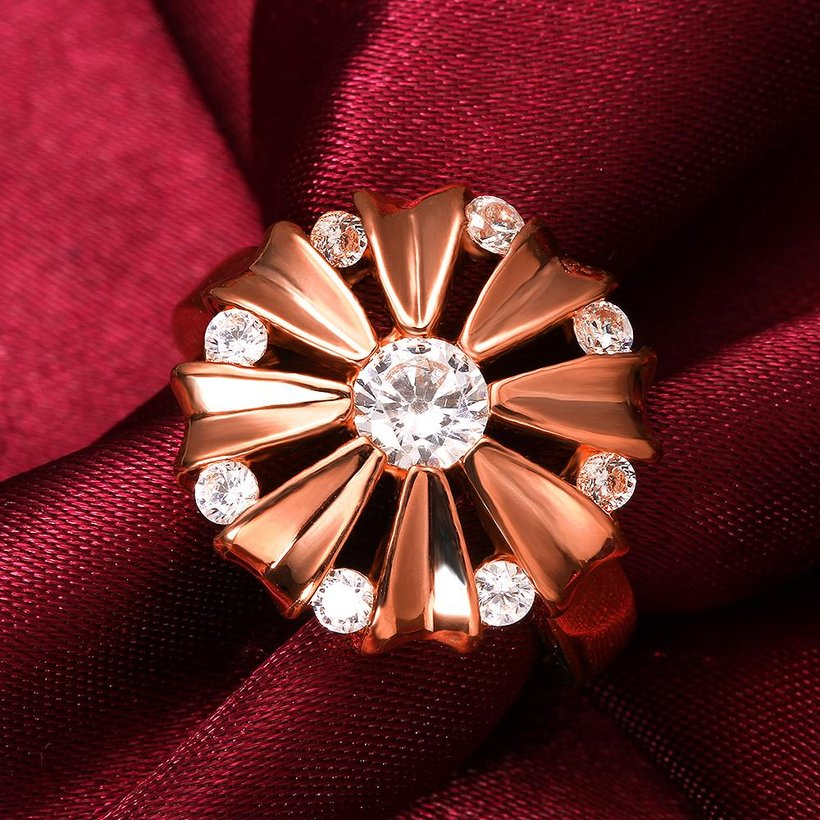 Wholesale Romantic Rose Gold Round White CZ Ring TGGPR754 2