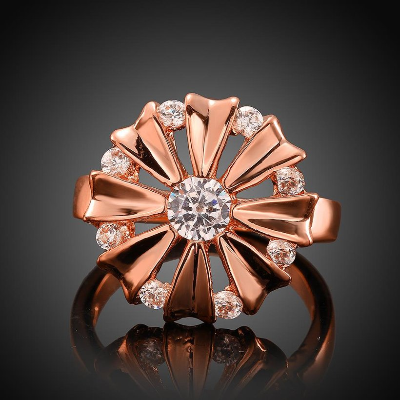 Wholesale Romantic Rose Gold Round White CZ Ring TGGPR754 3
