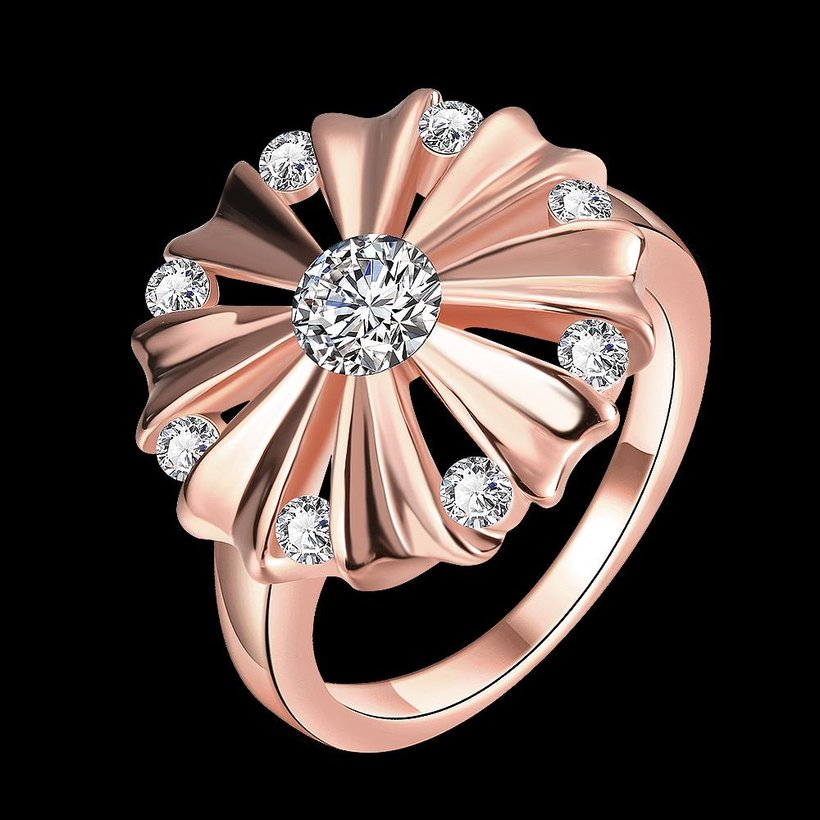 Wholesale Romantic Rose Gold Round White CZ Ring TGGPR754 4