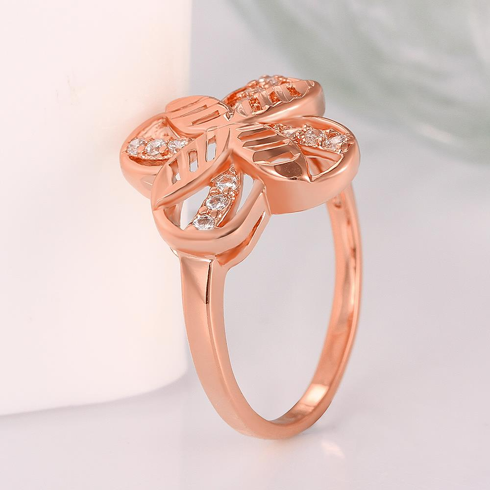Wholesale Romantic Rose Gold Plant White CZ Ring TGGPR760 1