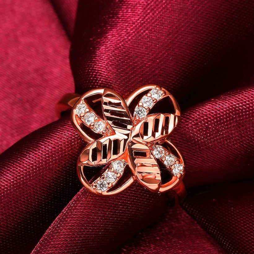 Wholesale Romantic Rose Gold Plant White CZ Ring TGGPR760 2