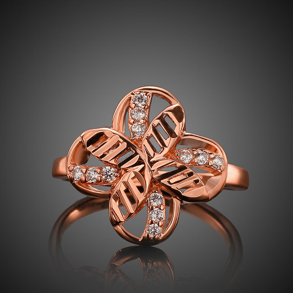 Wholesale Romantic Rose Gold Plant White CZ Ring TGGPR760 3