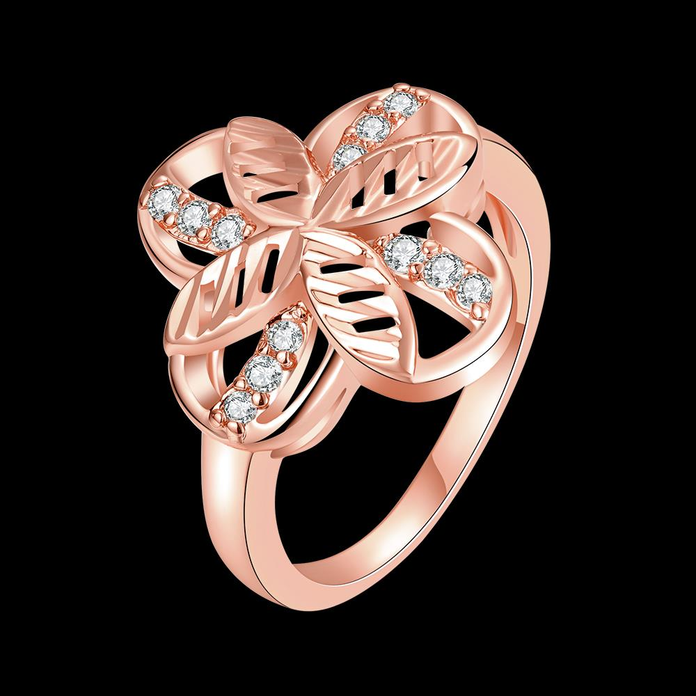 Wholesale Romantic Rose Gold Plant White CZ Ring TGGPR760 4