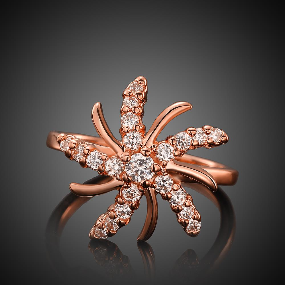Wholesale Trendy Rose Gold Plant White CZ Ring TGGPR783 0