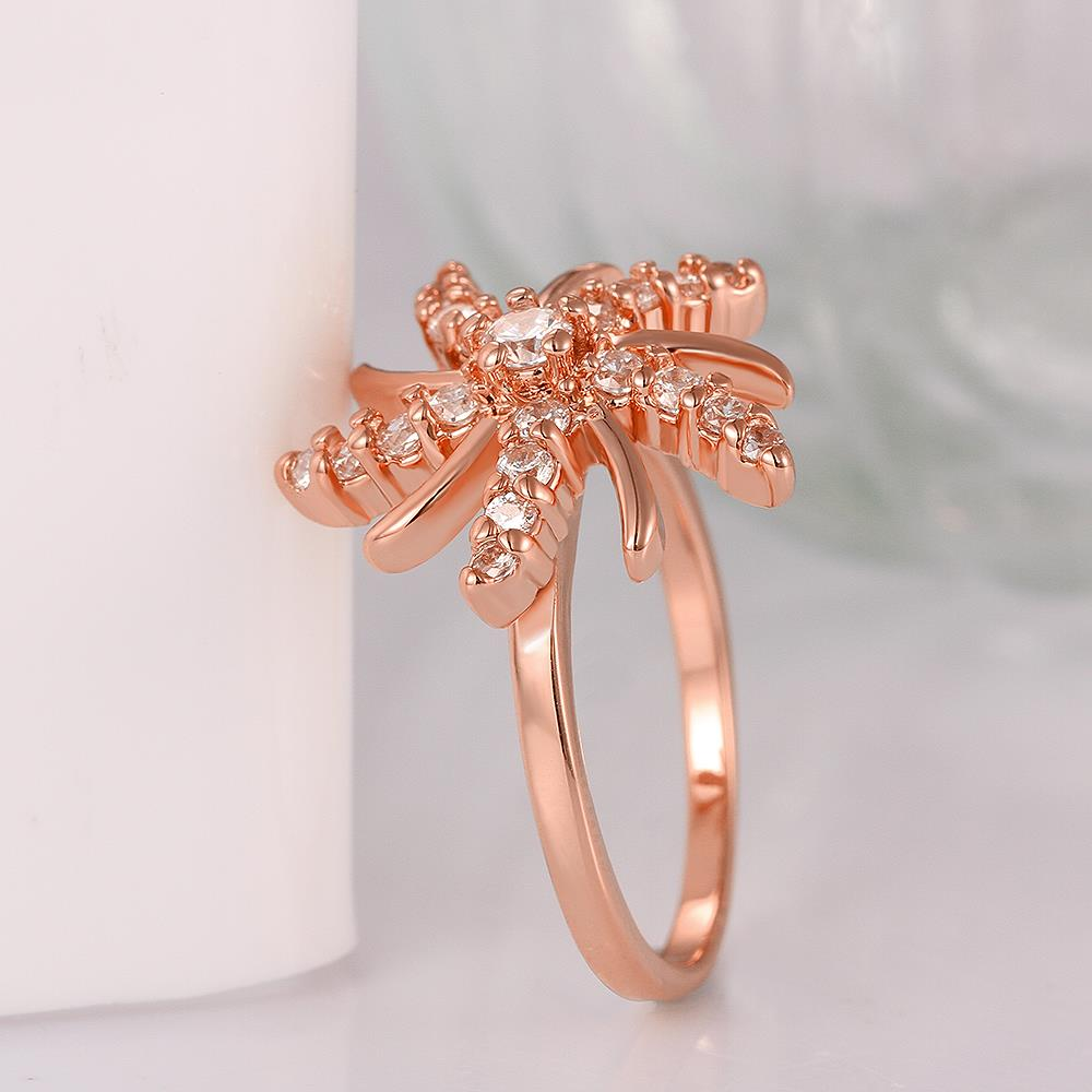 Wholesale Trendy Rose Gold Plant White CZ Ring TGGPR783 1