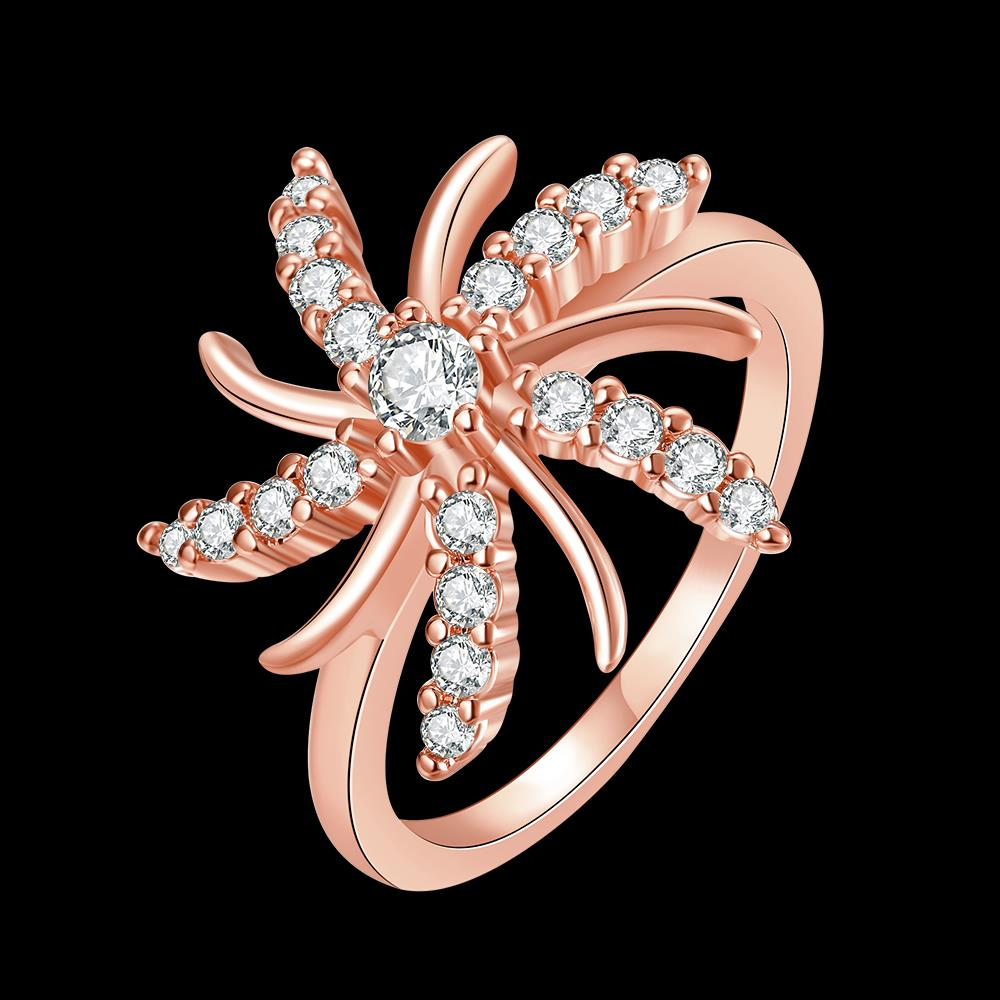 Wholesale Trendy Rose Gold Plant White CZ Ring TGGPR783 5