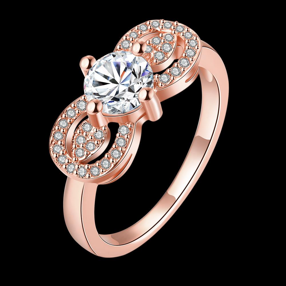 Wholesale Cute Rose Gold Letter White CZ Ring TGGPR820 0