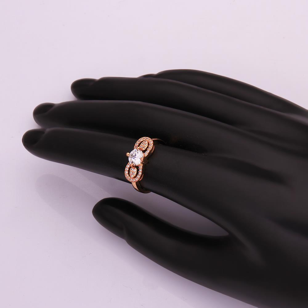 Wholesale Cute Rose Gold Letter White CZ Ring TGGPR820 1