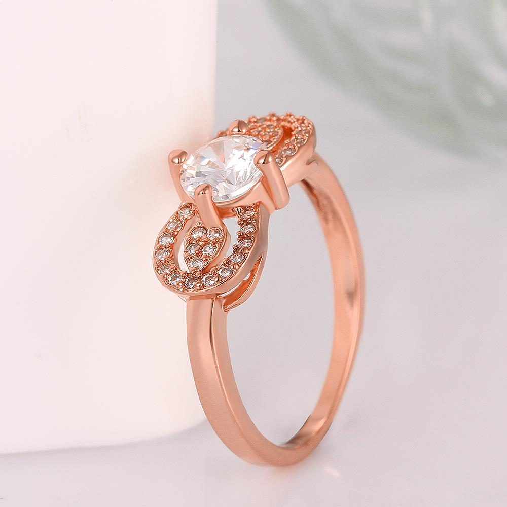 Wholesale Cute Rose Gold Letter White CZ Ring TGGPR820 2