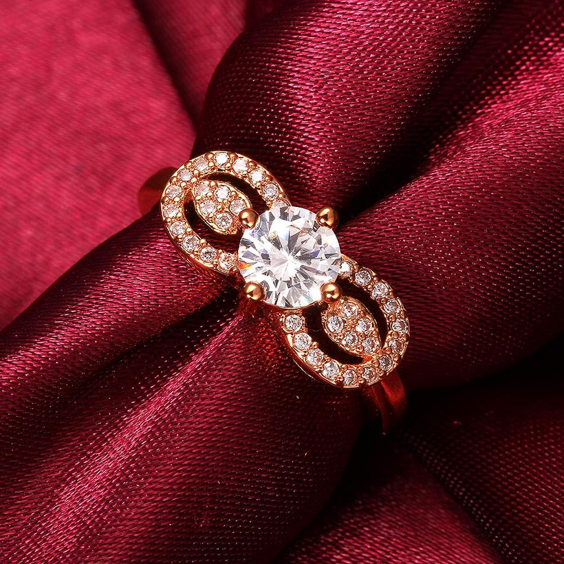 Wholesale Cute Rose Gold Letter White CZ Ring TGGPR820 3